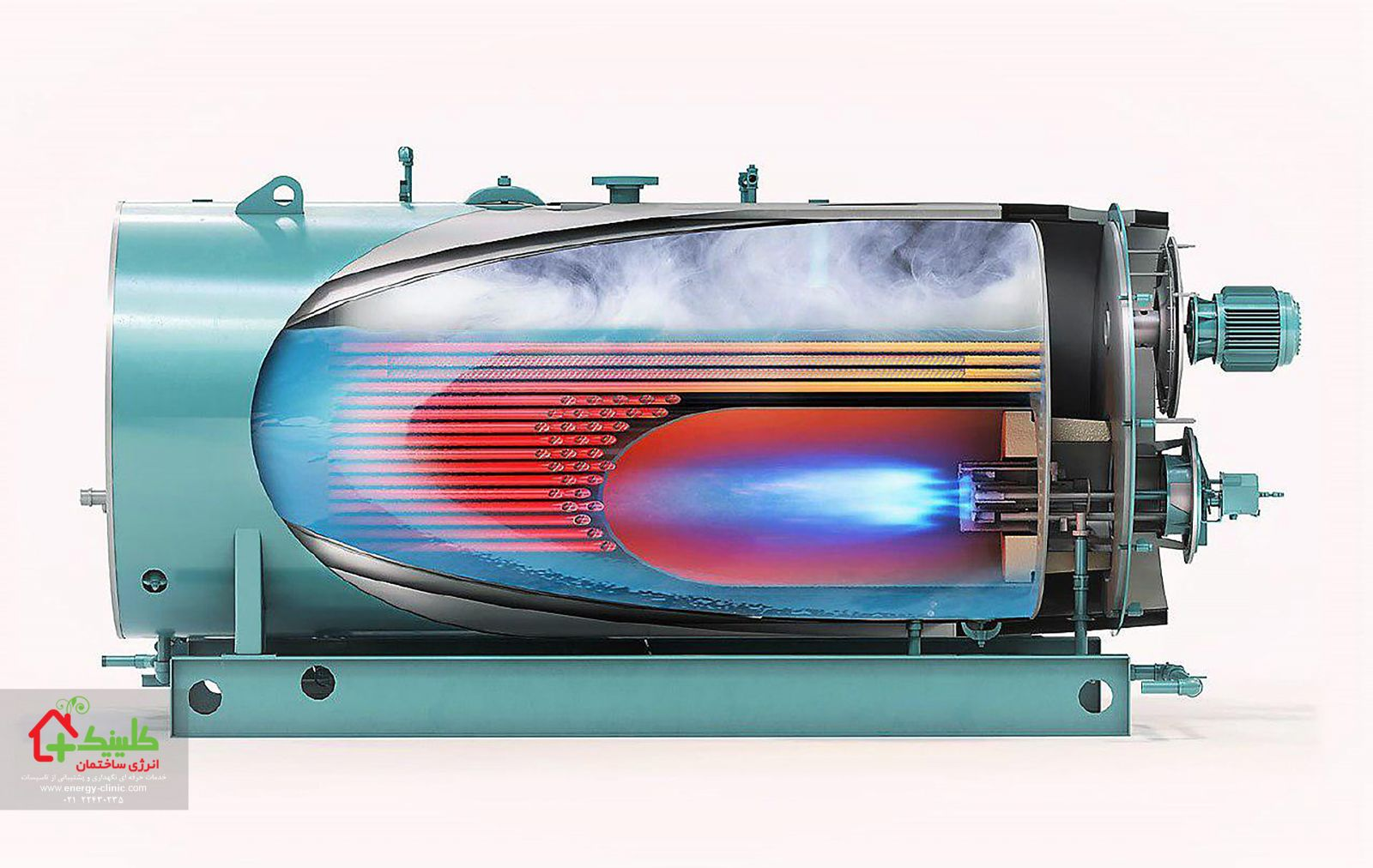سیستم گرمایش مرکزی ساختمان تصویر برش خورده یک دستگاه دیگ فولادی