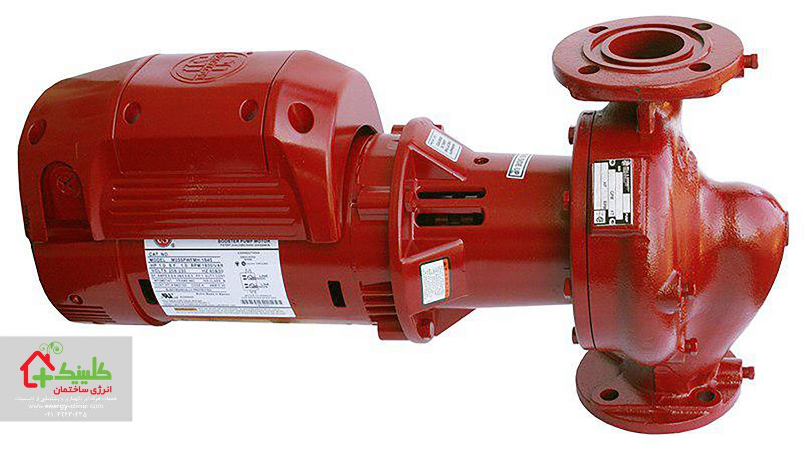 سیستم گرمایش مرکزی ساختمان تصویر یک دستگاه پمپ خطی موتورخانه