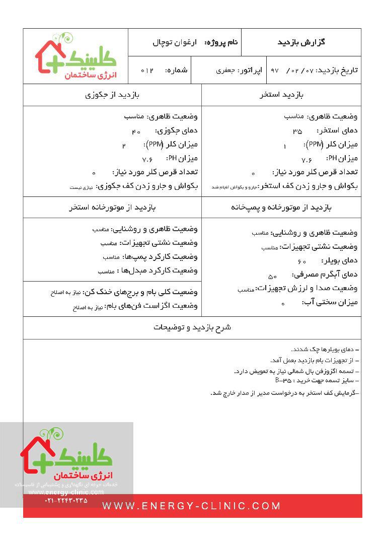 چک لیست بازدید تاسیسات ساختمان